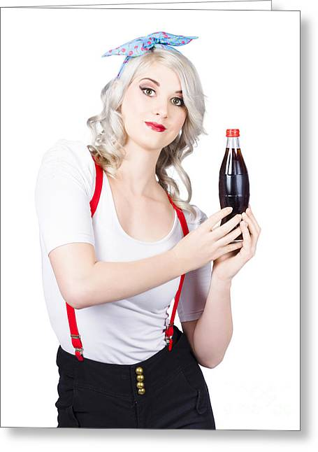 Suspenders Greeting Cards - Retro blond woman with a bottle of soda Greeting Card by Ryan Jorgensen
