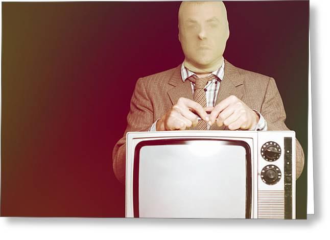 Broken-in Greeting Cards - Retro burglar stealing television on black Greeting Card by Ryan Jorgensen
