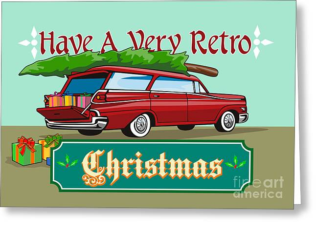 Station Wagon Greeting Cards - Retro Christmas Tree Station Wagon Greeting Card by Aloysius Patrimonio