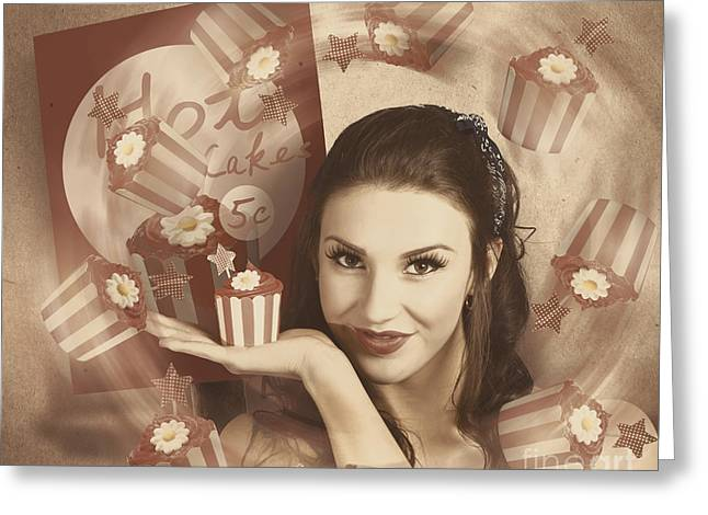 Bakery Poster Greeting Cards - Retro cupcake poster girl adverting baked cake Greeting Card by Ryan Jorgensen