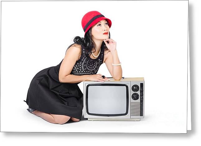 Tv Set Greeting Cards - Retro fashion communication. Girl on television Greeting Card by Ryan Jorgensen