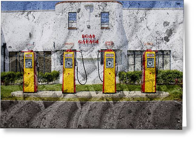 Forecourt Greeting Cards - Retro Garage Greeting Card by Jan Carr