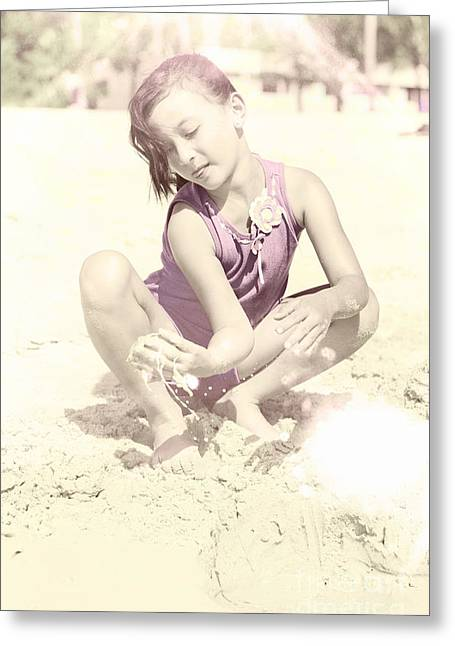 Preteen Greeting Cards - Retro Girl Playing In Beach Sand Greeting Card by Ryan Jorgensen