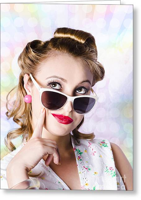 Retro Glam Model On Colourful Disco Dots Greeting Card by Jorgo Photography - Wall Art Gallery