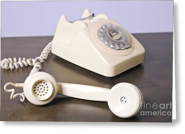 1970s Fashion Greeting Cards - Retro Home Telephone Greeting Card by PhotoStock-Israel