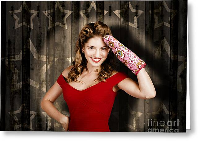 Retro Housewife Cook Giving 5 Star Food Service Greeting Card by Jorgo Photography - Wall Art Gallery