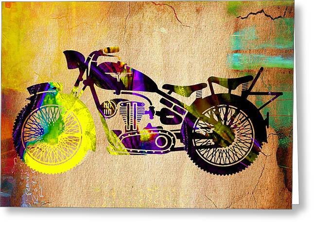Old Motorcycle Greeting Cards - Retro Motorcycle Greeting Card by Marvin Blaine