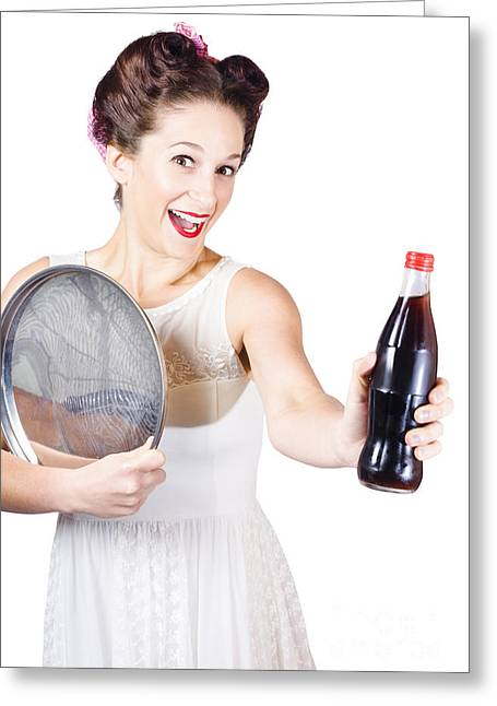 Endorsing Greeting Cards - Retro pin-up girl giving bottle of soft drink Greeting Card by Ryan Jorgensen