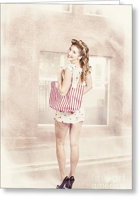 Shopping Bag Greeting Cards - Retro pin up woman carrying vintage shopping bag Greeting Card by Ryan Jorgensen