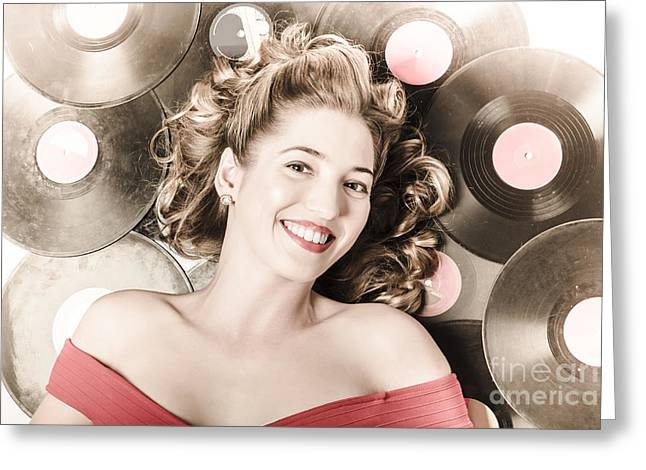 Acoustical Photographs Greeting Cards - Retro pin-up woman with rocking hairstyle Greeting Card by Ryan Jorgensen