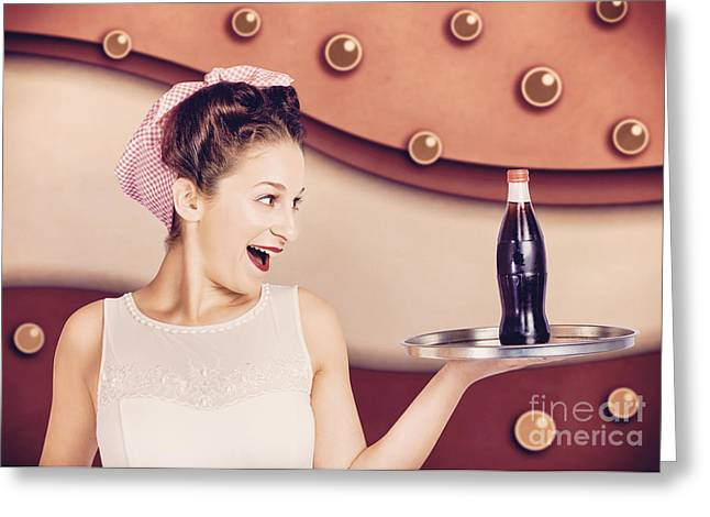 Girl Profile Greeting Cards - Retro pinup girl holding food and drinks tray Greeting Card by Ryan Jorgensen
