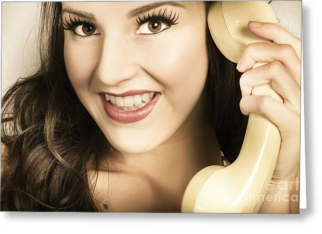 Chin Up Photographs Greeting Cards - Retro pinup model in gossip on old telephone Greeting Card by Ryan Jorgensen