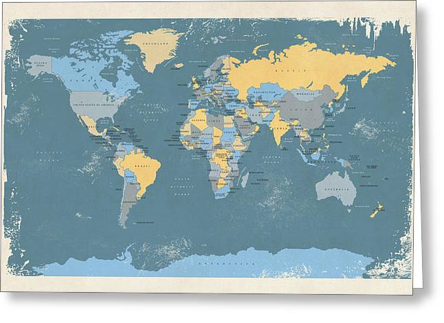 Planet Map Digital Art Greeting Cards - Retro Political Map of the World Greeting Card by Michael Tompsett