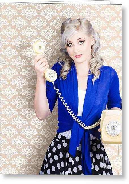 Retro Phone Greeting Cards - Retro portrait of a woman talking on vintage phone Greeting Card by Ryan Jorgensen