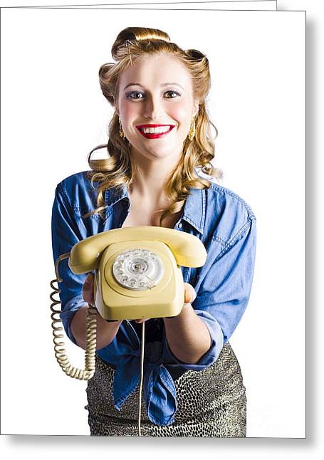 Youthful Greeting Cards - Retro receptionist Greeting Card by Ryan Jorgensen