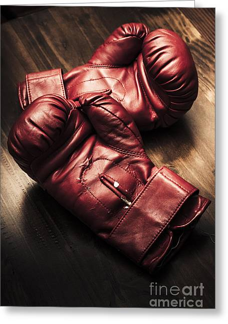 Sportswear Greeting Cards - Retro red boxing gloves on wooden training bench Greeting Card by Ryan Jorgensen