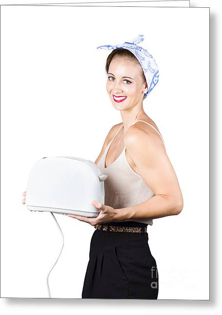 Toaster Greeting Cards - Retro woman with toaster Greeting Card by Ryan Jorgensen