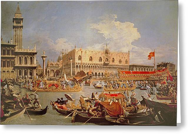 Processions Greeting Cards - Return Of The Bucintoro On Ascension Day Greeting Card by Canaletto