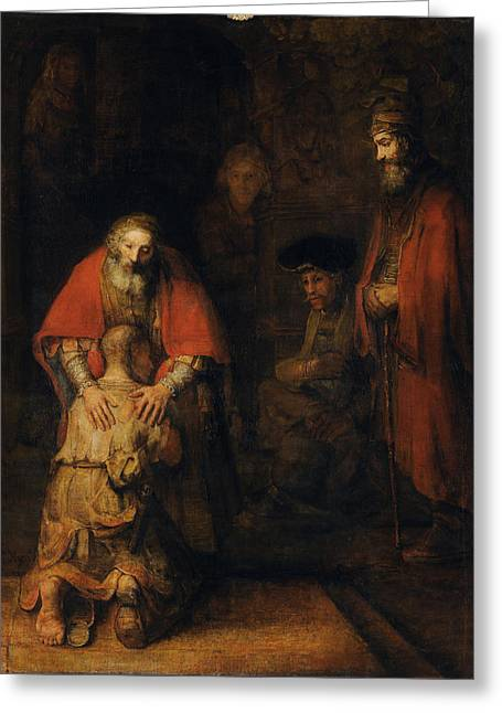 Prodigal Greeting Cards - Return of the Prodigal Son Greeting Card by Rembrandt van Rijn