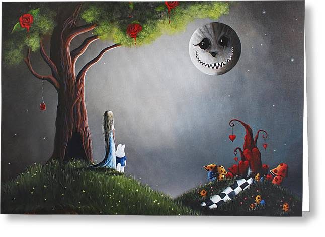 Whimsical Paintings Greeting Cards - Alice In Wonderland Original Artwork Greeting Card by Shawna Erback