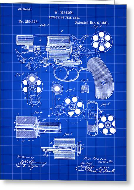 Marksman Greeting Cards - Revolving Fire Arm Patent 1881 - Blue Greeting Card by Stephen Younts