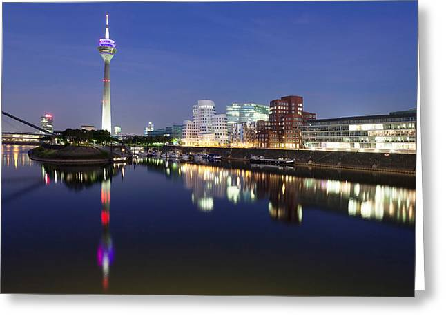 Communications Tower Greeting Cards - Rheinturm Tower And Gehry Buildings Greeting Card by Panoramic Images