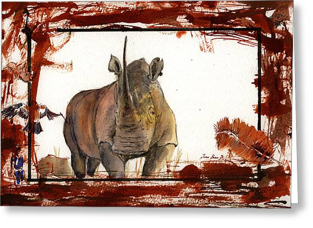 Rhinos Greeting Cards - Rhino Greeting Card by Juan  Bosco
