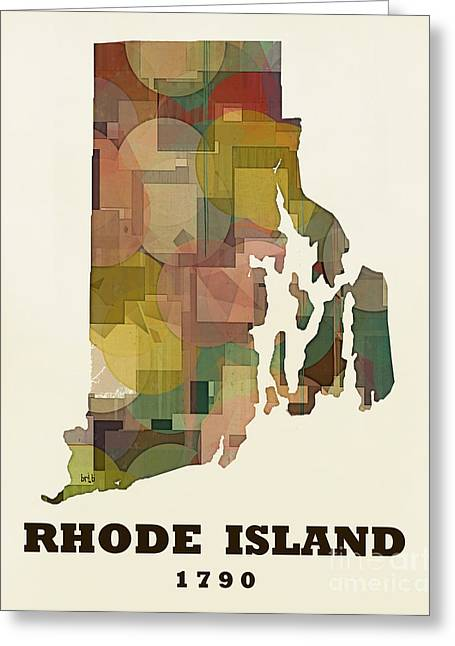 World Map Print Paintings Greeting Cards - Rhode Island State Map Modern Greeting Card by Bri Buckley