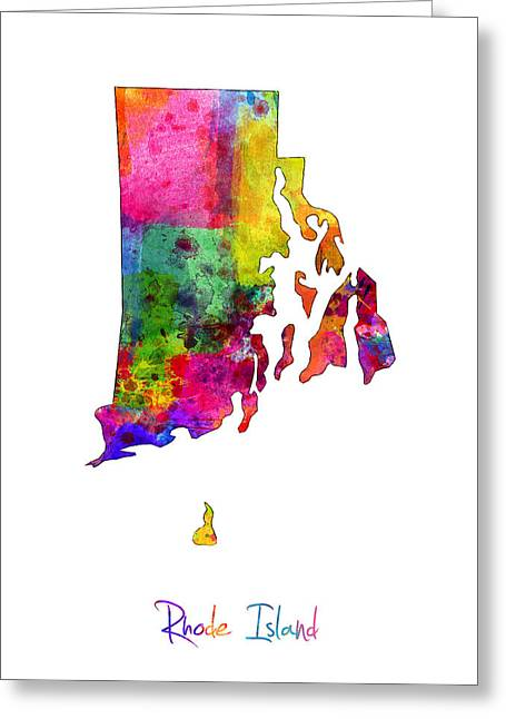 Cartography Digital Art Greeting Cards - Rhode Island Watercolor Map Greeting Card by Michael Tompsett