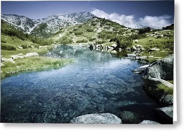 Reflections Of Sky In Water Greeting Cards - Ribno Banderishko River In Pirin Greeting Card by Evgeny Kuklev