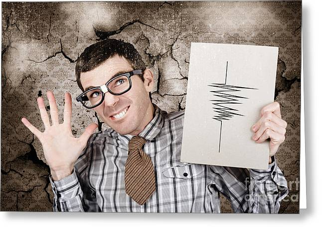 Richter Greeting Cards - Richter the male nerd seismologist in earthquake Greeting Card by Ryan Jorgensen