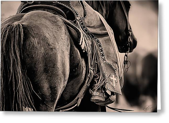 Quarter Horses Greeting Cards - Riding for the Brand Greeting Card by Kelli Brown