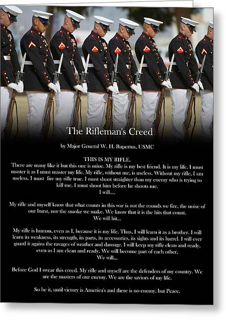 Marine Greeting Cards - Riflemans Creed Poster Greeting Card by Annette Redman