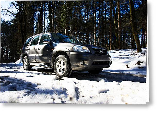 Teruel Greeting Cards - Right front side of Mazda Tribute on the mountain road Greeting Card by Newnow Photography By Vera Cepic