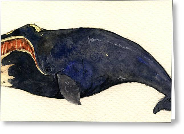 Right Whale Greeting Card by Juan  Bosco