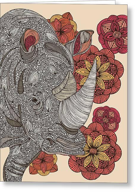 Floral Digital Art Greeting Cards - Rino Greeting Card by Valentina Ramos