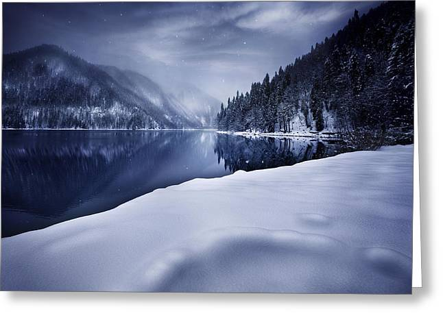 Reflections Of Sky In Water Greeting Cards - Ritsa Lake In The Snow Covered Greeting Card by Evgeny Kuklev