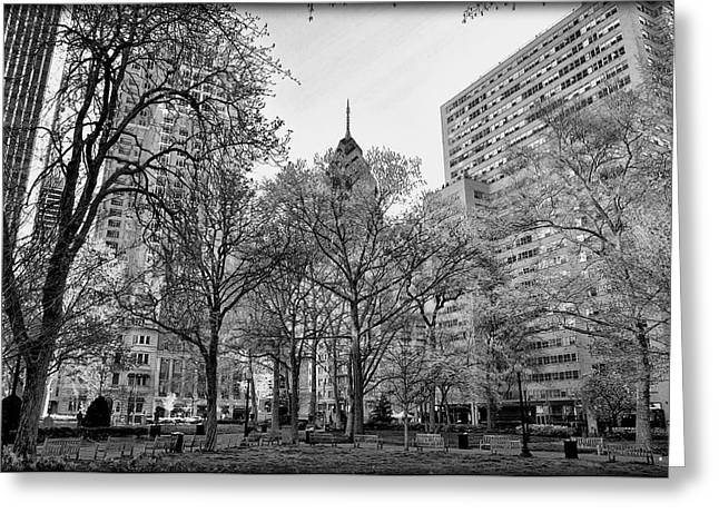 Rittenhouse Square Greeting Cards - Rittenhouse Square in Black and White Greeting Card by Bill Cannon