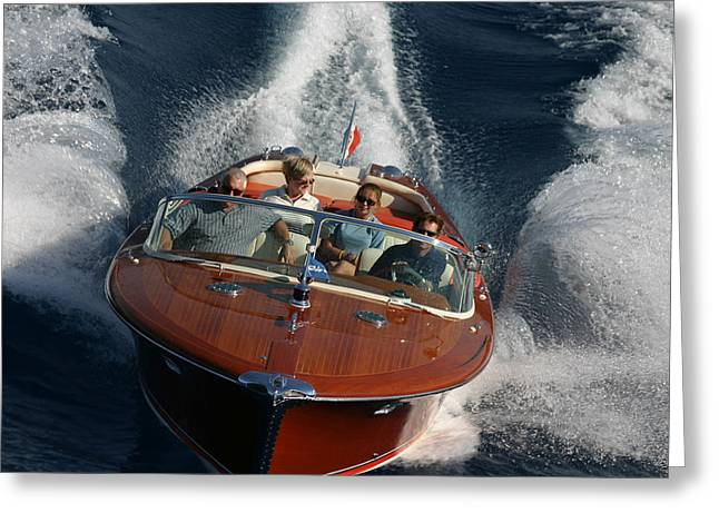 Mahogany Greeting Cards - Riva Aquarama Aerial Greeting Card by Steven Lapkin