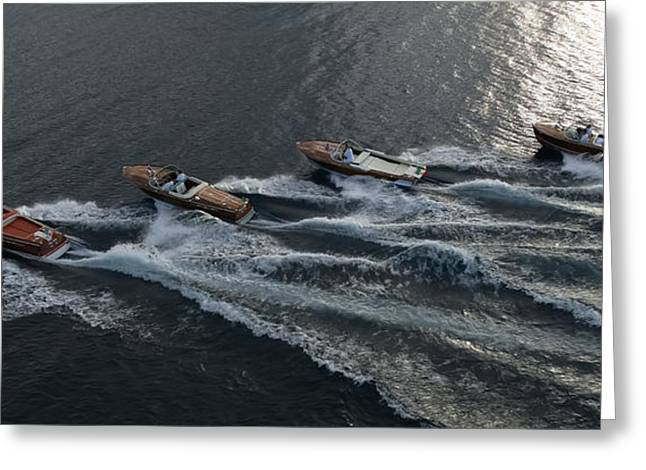Mahogany Greeting Cards - Riva Runabouts aerial Greeting Card by Steven Lapkin