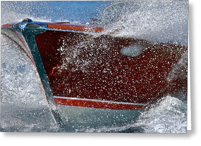 Mahogany Greeting Cards - Riva Splash Greeting Card by Steven Lapkin