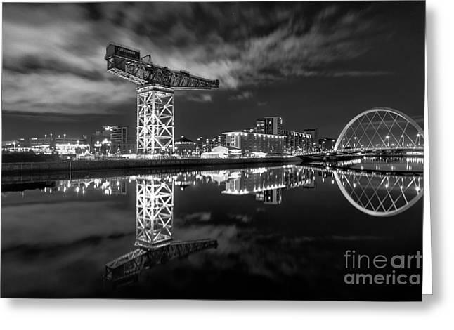 Scottish Art Greeting Cards - River Clyde at night Greeting Card by John Farnan