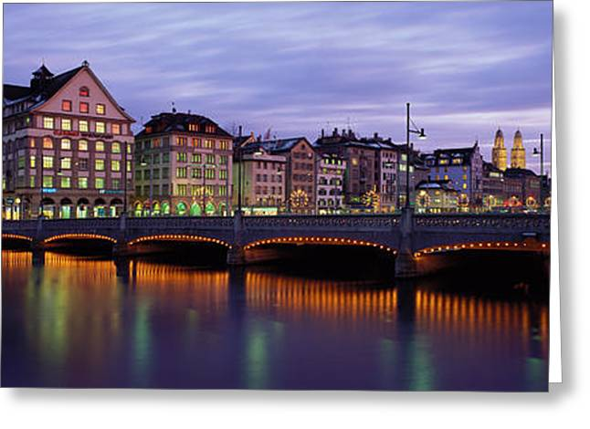 Rudolf Greeting Cards - River Limmat Zurich Switzerland Greeting Card by Panoramic Images