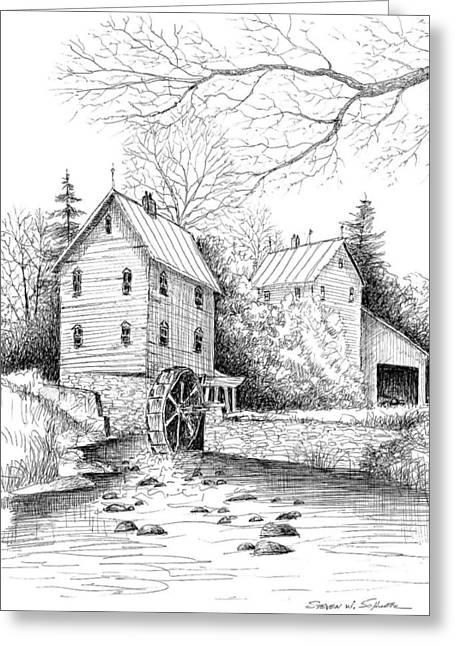 Award Winning Art Greeting Cards - River Mill Greeting Card by Steven Schultz