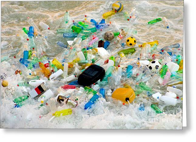 Bottled Water Greeting Cards - River Pollution Greeting Card by Tim Holt