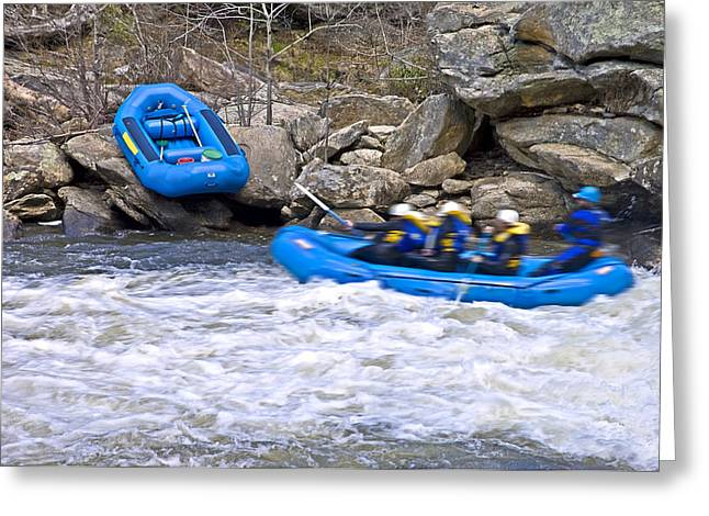 River Rafting Greeting Card by Susan Leggett