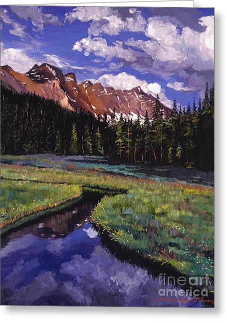 National Paintings Greeting Cards - River Valley Greeting Card by David Lloyd Glover