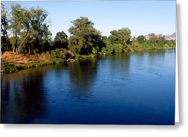 Reflections In River Greeting Cards - River With A Mountain Greeting Card by Panoramic Images