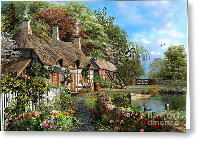 Peaceful Pond Greeting Cards - Riverside Home In Bloom Greeting Card by Dominic Davison