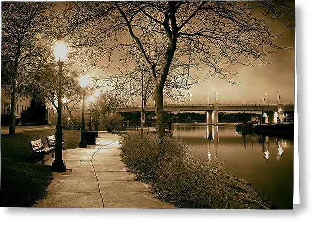 Riverwalk Greeting Cards - Riverwalk at Dusk Greeting Card by Mountain Dreams